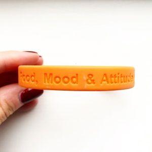 Jewelry - Orange rubber 'Food, Mood & Attitude' bracelet